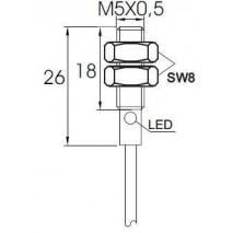 Indukční snímač MB526PFC, M5, 0,8mm, PNP, NC