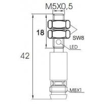 Indukční snímač MB526PFAV6, M5, 0,8mm, PNP, NO
