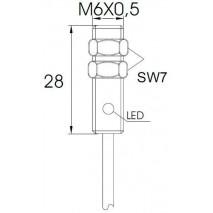 Indukční snímač MB626PFA, M6, 1mm, PNP, NO