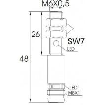Indukční snímač MB626PFAV6, M6, 1mm, PNP, NO