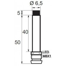 Indukční snímač B016.51.5POV6, Ø6,5, 1,5mm, PNP, NO