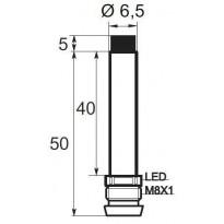 Indukční snímač B01E6.52POV6, Ø6,5, 2mm, PNP, NO