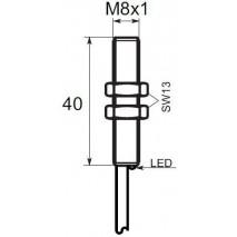 Indukční snímač B01G81PC, M8, 1mm, PNP, NC