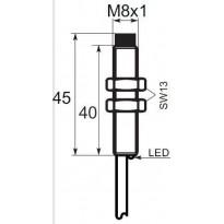 Indukční snímač B01EG82NO, M8, 2mm, NPN, NO