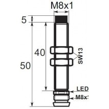Indukční snímač B01E82PCV6, M8, 2mm, PNP, NC