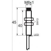 Indukční snímač B03EG84NO, M8, 4mm, NPN, NO