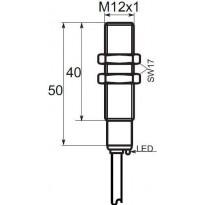 Indukční snímač B01G122PC, M12, 2mm, PNP, NC