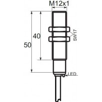 Indukční snímač B01G122PSC, M12, 2mm, PNP, NO+NC