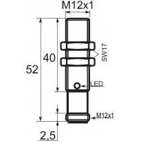 Indukční snímač B01122POC5, M12, 2mm, PNP, NO