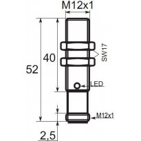 Indukční snímač B01122PCC5, M12, 2mm, PNP, NC