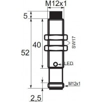 Indukční snímač B01E124NOC5, M12, 4mm, NPN, NO