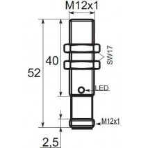 Indukční snímač B03124NOC5, M12, 4mm, NPN, NO