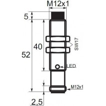 Indukční snímač B03E128POC5, M12, 8mm, PNP, NO