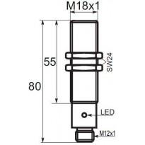 Indukční snímač B01185PSCC5, M18, 5mm, PNP, NO+NC