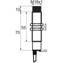 Indukční snímač B01EG188PC, M18, 8mm, PNP, NC