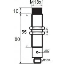 Indukční snímač B01E188POC5, M18, 8mm, PNP, NO