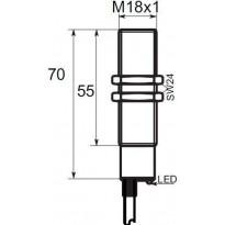 Indukční snímač B03G188PC, M18, 8mm, PNP, NC