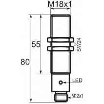 Indukční snímač B03188PCC5, M18, 8mm, PNP, NC