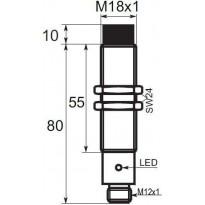 Indukční snímač B03E1816POC5, M18, 16mm, PNP, NO