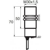 Indukční snímač B01G3010PO, M30, 10mm, PNP, NO