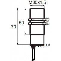 Indukční snímač B01G3010NSC, M30, 10mm, NPN, NO+NC
