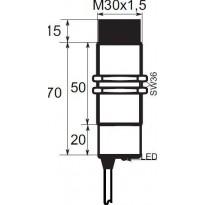 Indukční snímač B01EG3015PO, M30, 15mm, PNP, NO