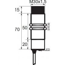 Indukční snímač B01EG3015PSC, M30, 15mm, PNP, NO+NC