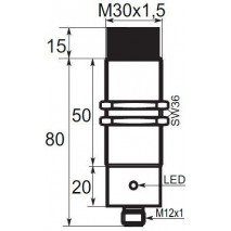 Indukční snímač B01E3015PSCC5, M30, 15mm, PNP, NO+NC