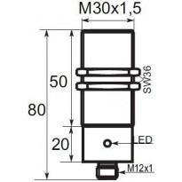 Indukční snímač B033020POC5, M30, 20mm, PNP, NO
