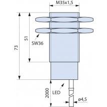 Indukční snímač B01G3515PO, M35, 15mm, PNP, NO