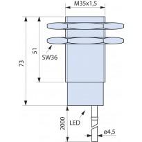 Indukční snímač B01G3515NSC, M35, 15mm, NPN, NO+NC