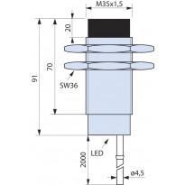 Indukční snímač B01EG3520PSC, M35, 20mm, PNP, NO+NC