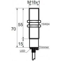 Kapacitní snímač K01G18PSC, M18, 8mm, PNP, NO/NC