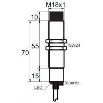 Kapacitní snímač K01EG18PSC, M18, 15mm, PNP, NO/NC