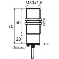 Kapacitní snímač K01G30PO, M30, 20mm, PNP, NO