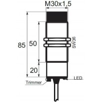 Kapacitní snímač K01EG30NO, M30, 30mm, NPN, NO