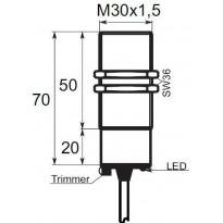 Kapacitní snímač K01G30PSC, M30, 20mm, PNP, NO/NC