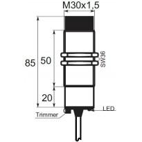 Kapacitní snímač K01EG30PSC, M30, 30mm, PNP, NO/NC
